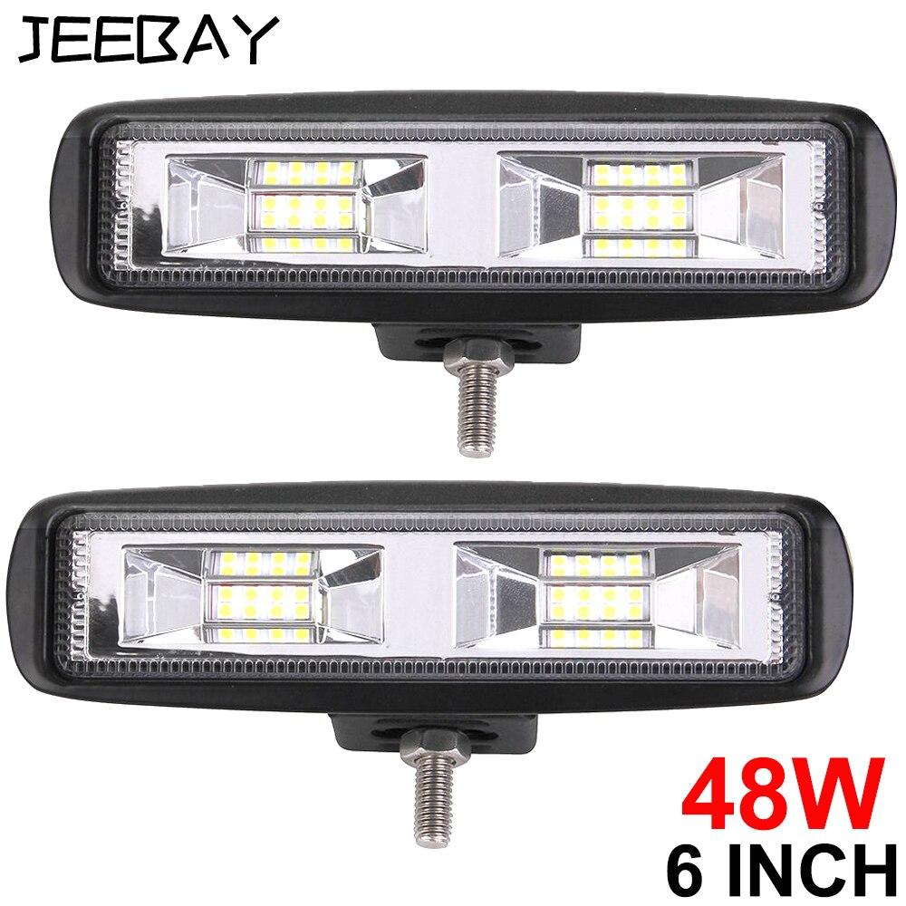 6 Inch 48W 3D Led Work Light 12V Led Beams Led Bar Off Road 4x4 Car Flood Spot Combo Light For Trucks SUV Accessories Fog Lamp