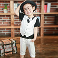 New Boys Kids Clothes Small Children Summer Suit For Boys False Therr Pie Fashion Plaid Shorts Pullover 2 Color Size 2-5Y