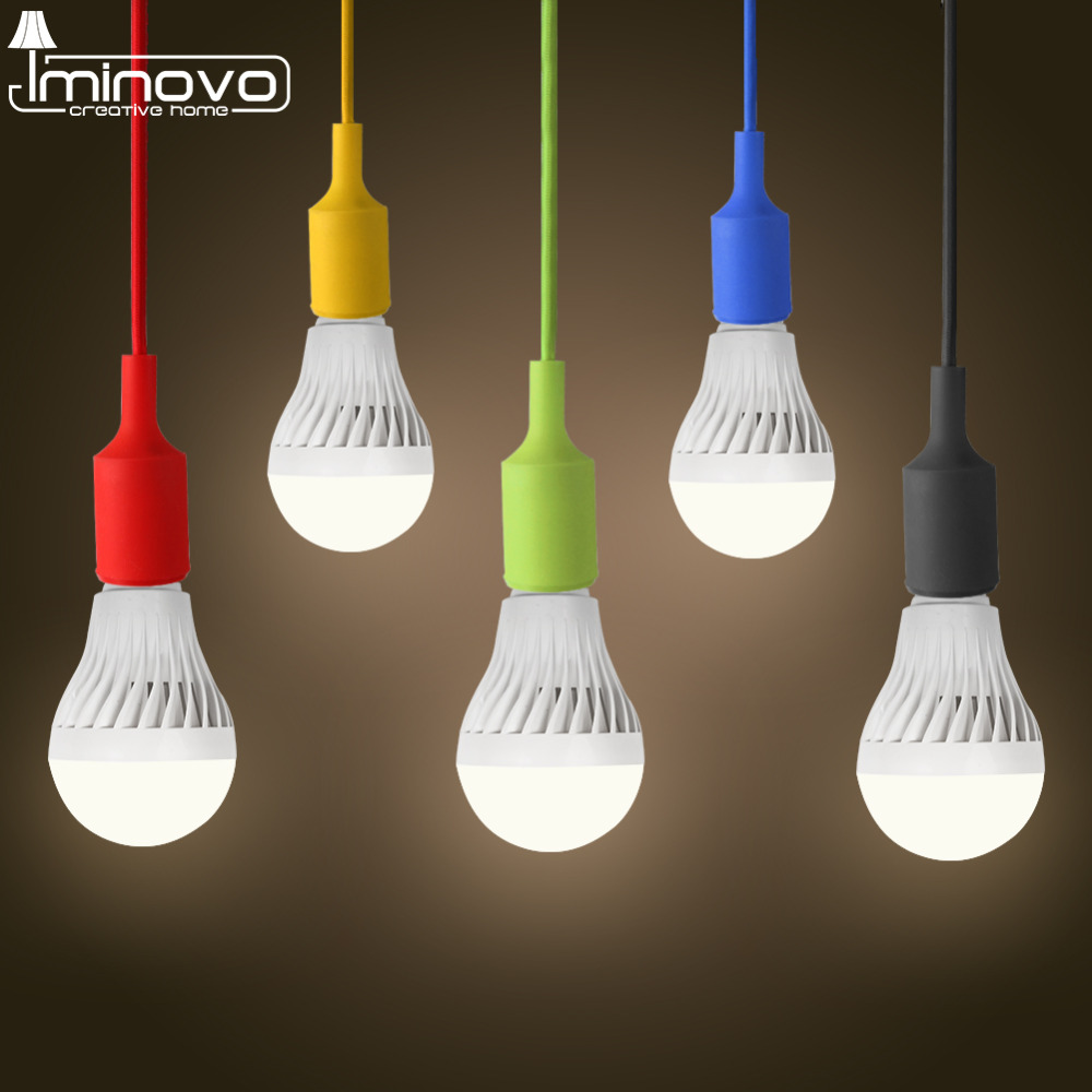 Iminovo Colorful Silicone Retro lamp Socket Fixture Hanging Line E27 AC 90V-260V DIY For Bar Chidren Room Living Room Restaurant