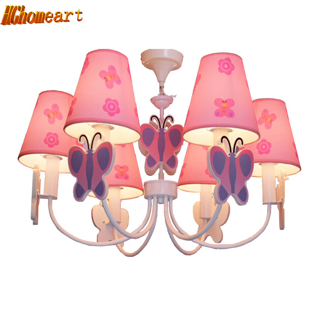 Led Home Lighting Lamp Butterfly Modern Chandelier Kids Room Cartoon LED Chandeliers for The Bedroom E14 110V-220V Led Lamps cartoon pink led chandelier lamp e14 light bulb 110v 220v home lighting kids room suspension chandeliers for the bedroom