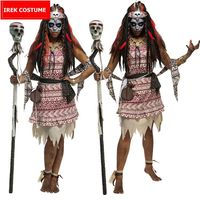 New Halloween Costume Carnaval Easter Adult Female Indian African Tribe Voodoo Witch Priest Cosplay Costume high quality