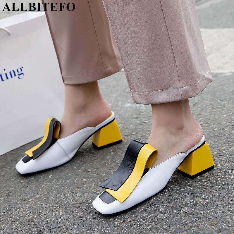 ALLBITEFO genuine leather high heel shoes fashion sexy summer women flip flops women slippers slides ladies