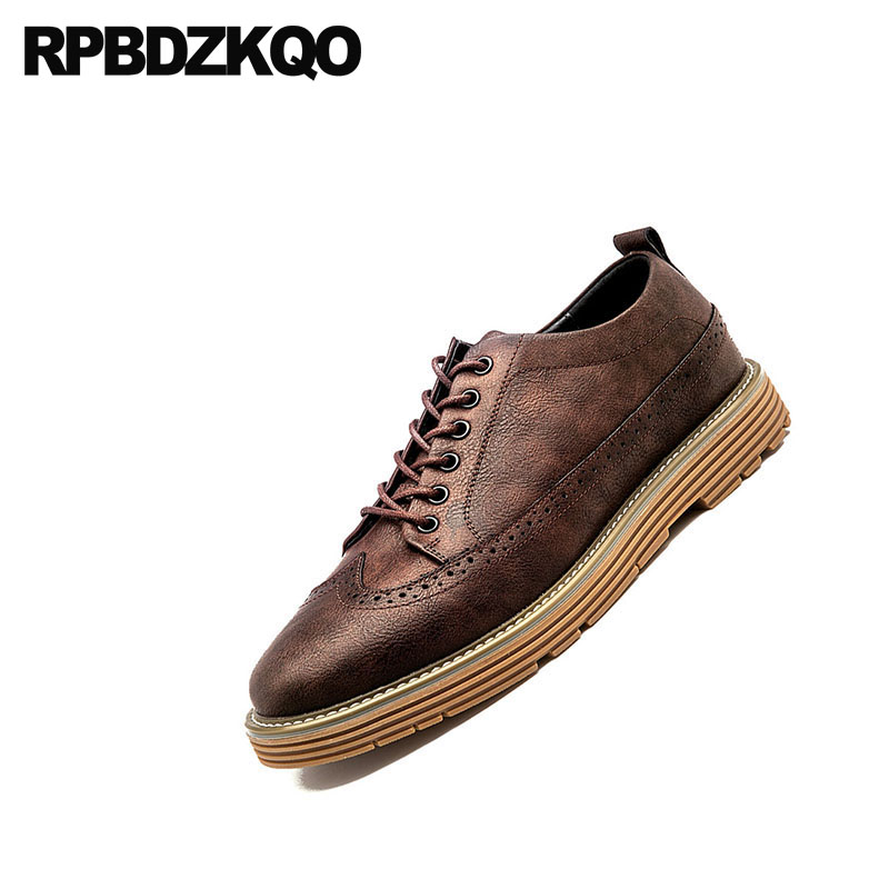 Plataforma Luxo Rendas Creepers Oxfords Britânico Brogue yellow Elevador grey Casuais Até Dos 2018 Escritório Estilo Grife De black Brown Homens Marrom Wingtip Sapatos qZTxxnt