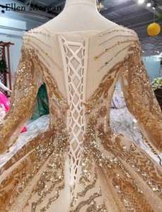 Image 5 - Gold Ball Gowns Wedding Dresses 2020 Boat Neck Lace up Pattern Chapel Train Saudi Arabia Elegant Long Sleeves Bridal Gowns