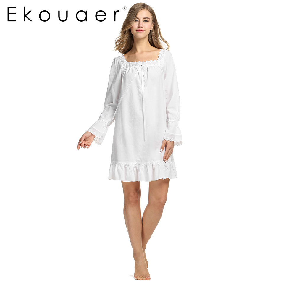 White Sleepwear Sleep Dress Long sleeve Women Cotton ...