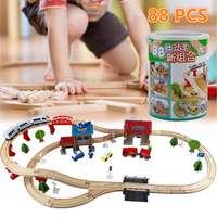 88 шт. деревянная железная дорога набор Детская деревянная железная дорога головоломка слот транзитные пути железная дорога игрушки для дет