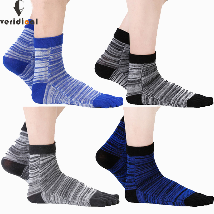 VERIDICAL 5 pairs/lot colorful toe socks men business funny finger short socks male boy calcetines meias masculino good quality