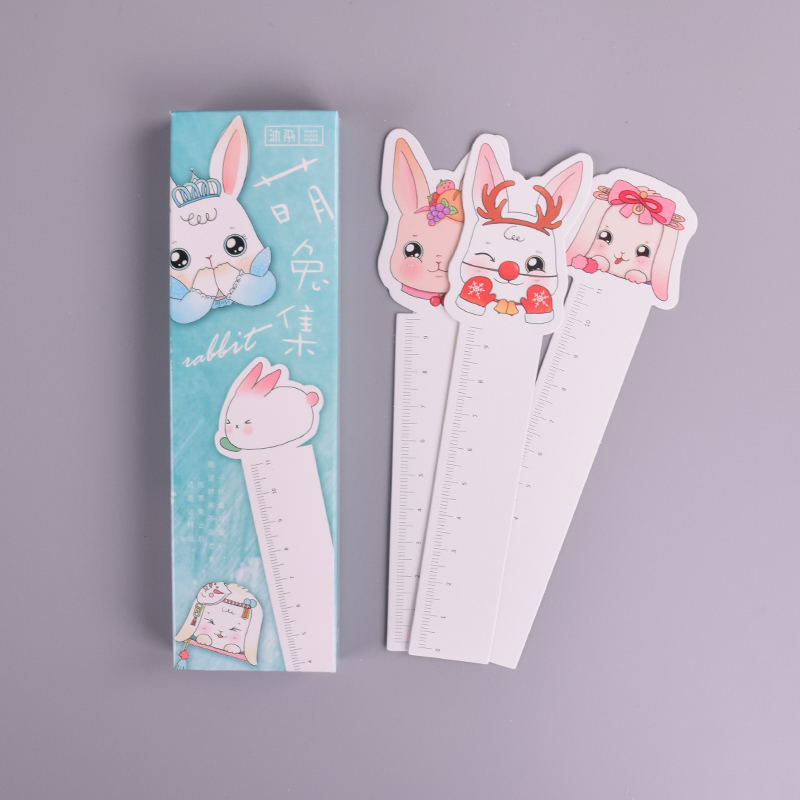 30 Pcs/box Cute Rabbit Rulers Animal Paper Bookmark Stationery Bookmarks Book Holder Message Card School Supplies Papelaria