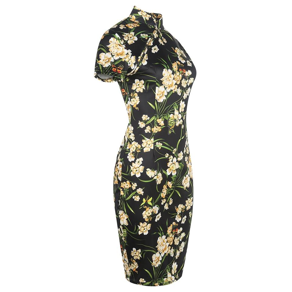 Oxiuly sieviešu modes kleita Vintage Bodycon kleitas ziedu apdruka - Sieviešu apģērbs - Foto 3