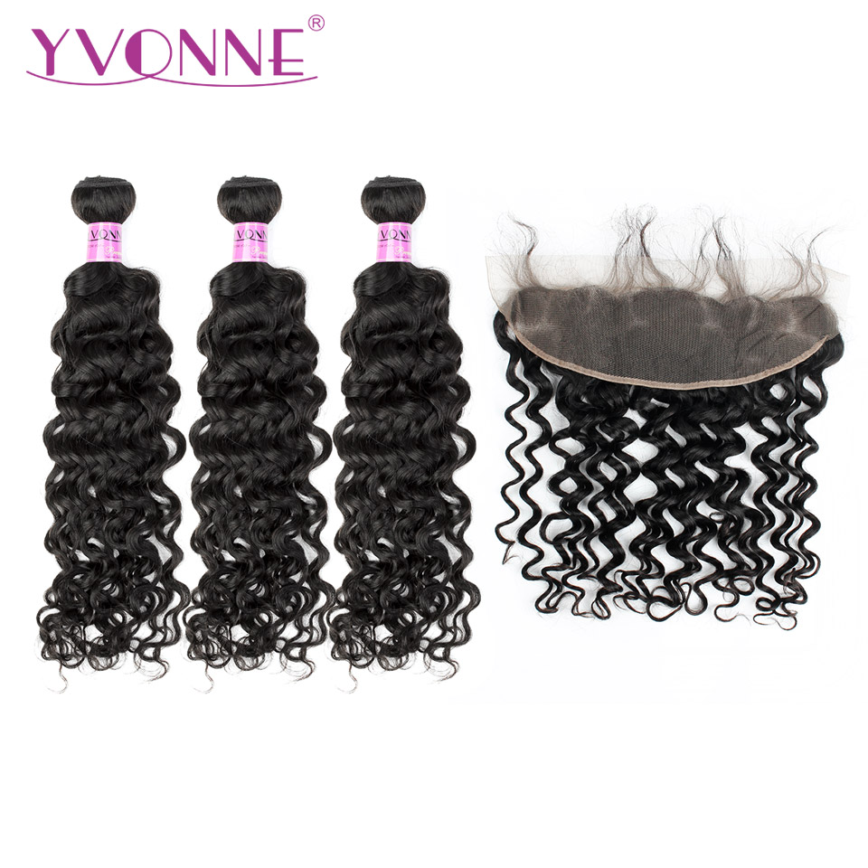 Yvonne Italien Bouclés Brésiliens Bundles Cheveux Humains Avec Frontale Couleur Naturelle 3 Bundles Cheveux Armure Avec 13*4 Dentelle frontale