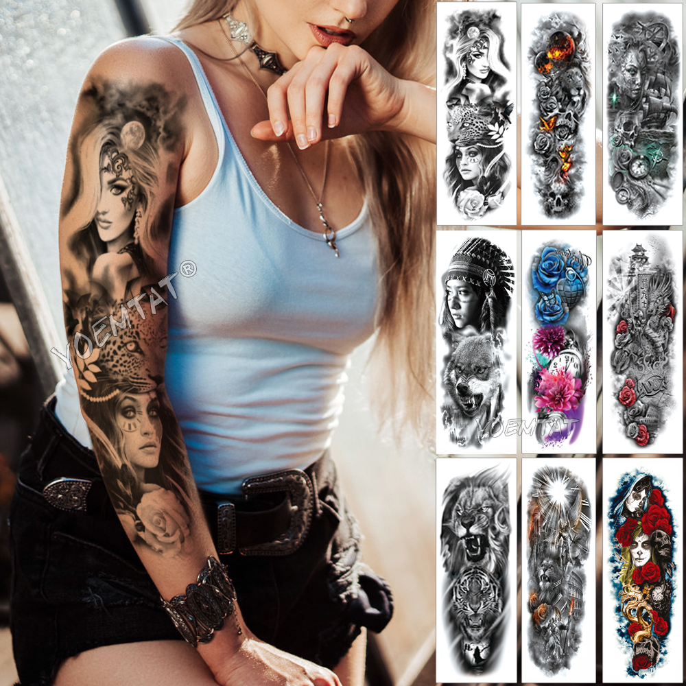 Large Arm Sleeve Tattoo Midnight Leopard Beauty Girl Waterproof Temporary Tatto Sticker Moonlight Rose Full Skull Tatoo Women