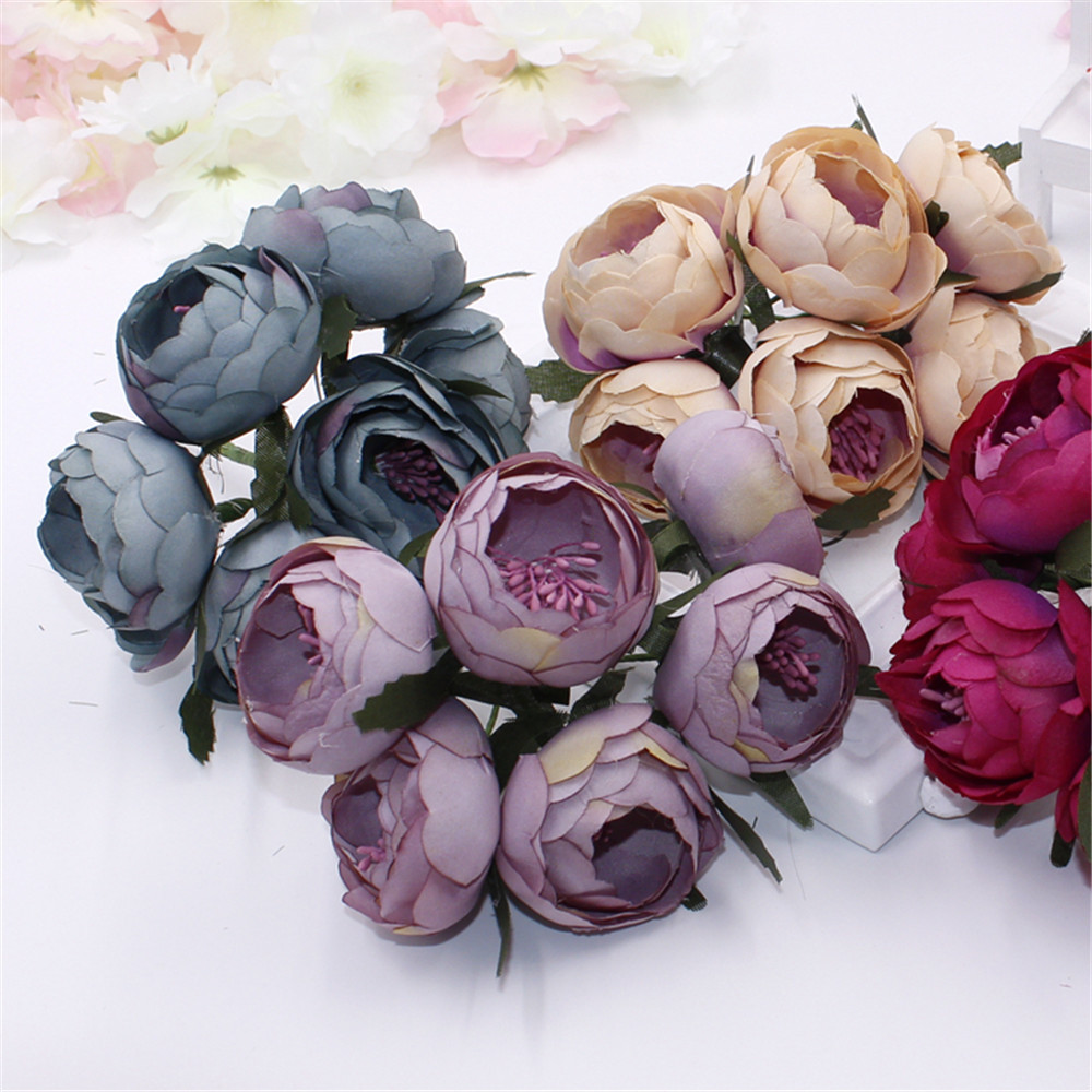 1 bouquet 6pcs diy fresh artificial flower rose silk flower fake 1 bouquet 6pcs diy fresh artificial flower rose silk flower fake plant for valentines day wedding home party decoration in artificial dried flowers from mightylinksfo