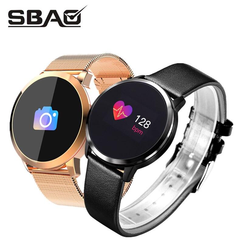 Q8 inteligente reloj de las mujeres de los hombres ronda banda deportiva 2018 Fitness Smartband impermeable pulsera deporte para niñas relojes de la presión arterial
