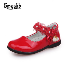 Girls Red Shoes Children Kids Leather School Sneaker 2019 Spring Autumn Wedding Party Shoes For Girls Bowknot Lace Dress Shoes