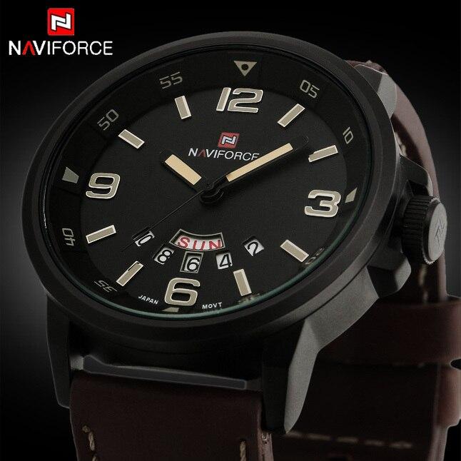 ade7cc004 2017 جديد أزياء العلامة التجارية الرجال الساعات الرياضية للرجال كوارتز ساعة  التاريخ ساعة جلد رجل حزام العسكرية الجيش للماء ساعة معصم