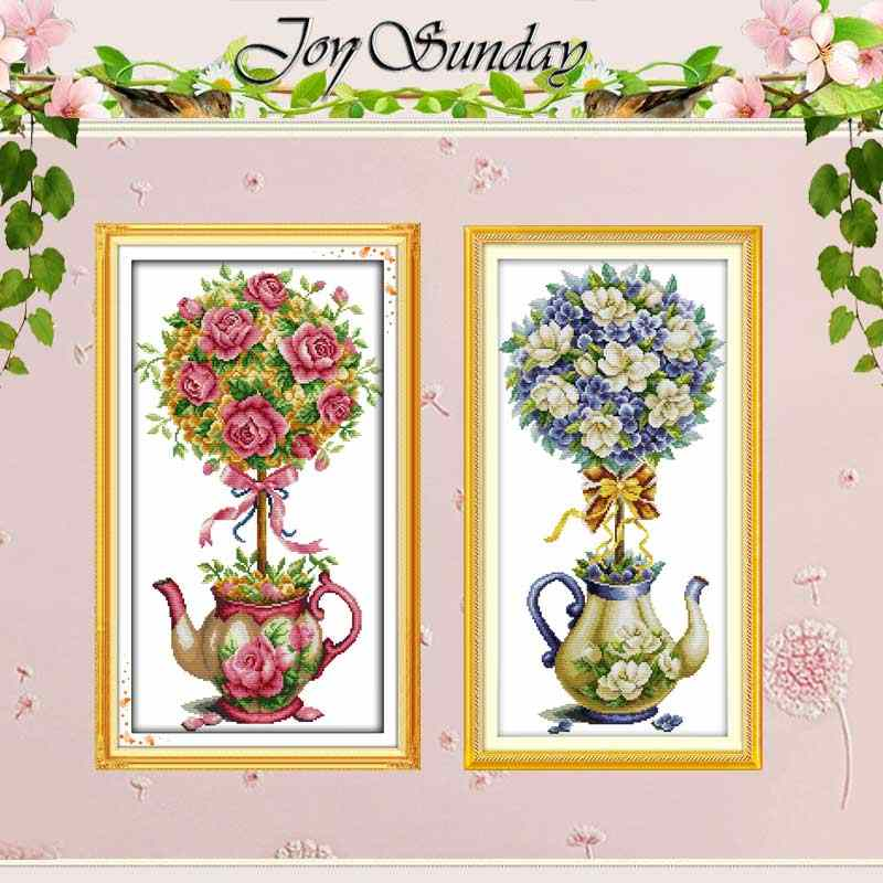 The bouquet and teapot counted Cross Stitch 11CT 14CT Cross Stitch Set Wholesale DIY Cross-stitch Kit Embroidery Needlework