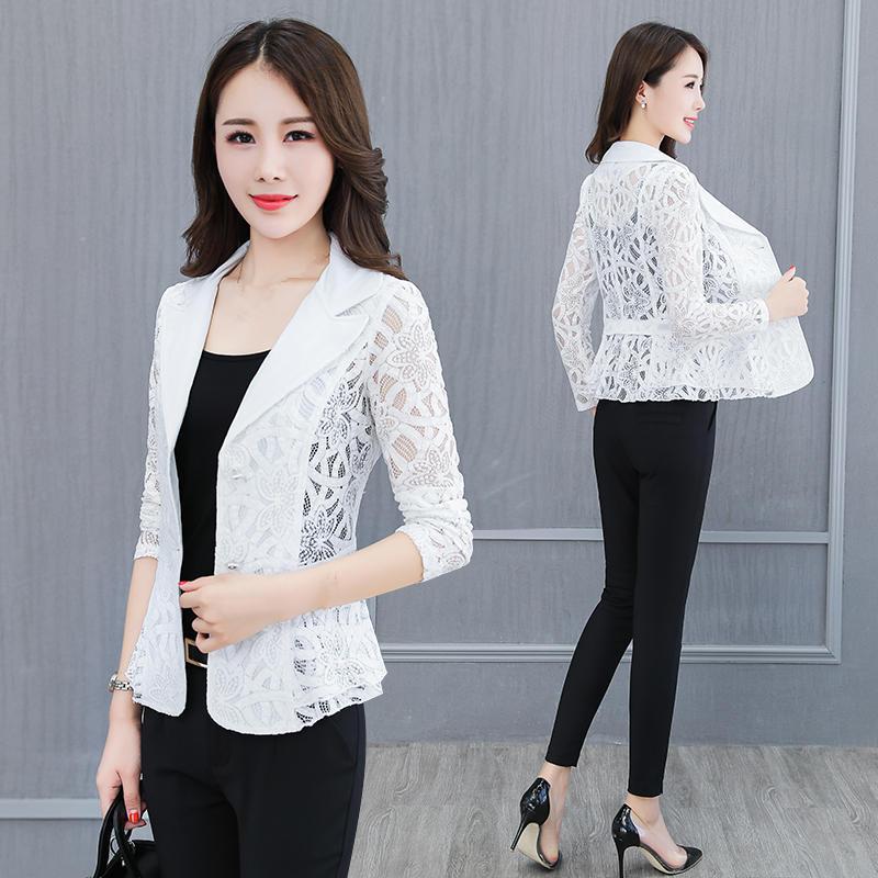 Spring Summer Lace Blazer Women Plus Size 4XL Fashion Thin Small Suit Jacket Women Blazer Mujer Office Coat Short Blaser C5229