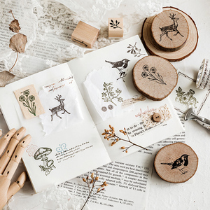 Image 3 - Vintage round wooden animal plants stamp DIY decal for scrapbooking stamp zakka stationery office school supplies gift