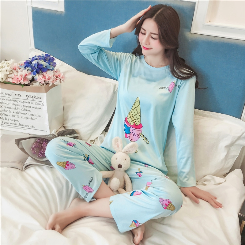a48dd4cdb123 2 in 1 Women Sleepwear Set Sweet Pyjamas Suit Girl Good Nightwear Pajamas  For Women
