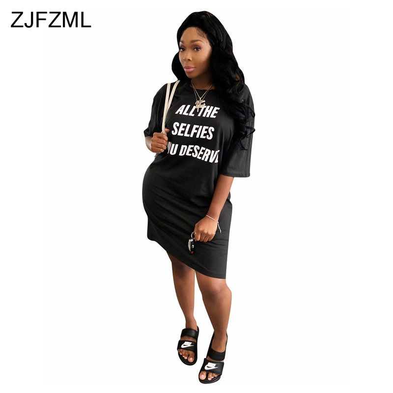 73ff58a8f6c83 Detail Feedback Questions about ZJFZML White Letter Printed Casual T Shirt  Dresses Women Round Neck Half Sleeve Loose Mini Dress Summer Black Plus Size  ...