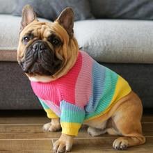[MPK Одежда для собак] Радужный свитер для собак, французский Бульдог зимняя одежда Одежда для собак