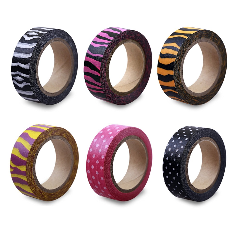 LolliZ 6 PCS/Pack Washi Tape Adhesive Tape Safari Fun Set DIY Decorative Tape Color Paper Adhesive Tapes