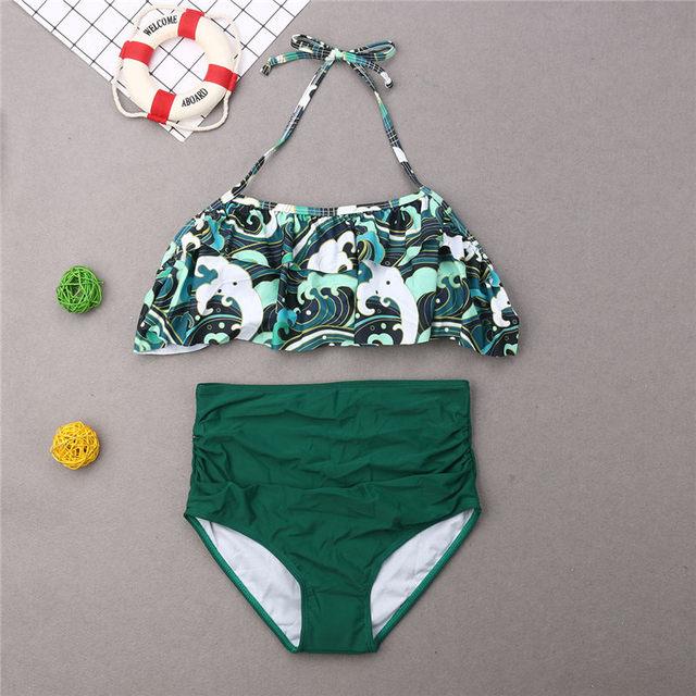 2019 Family Matching Swimwear Father Mother Kid Wave Swimsuit Women Girls Bikini Men Boys Trunks Bathing Suit Swimming Beachwear