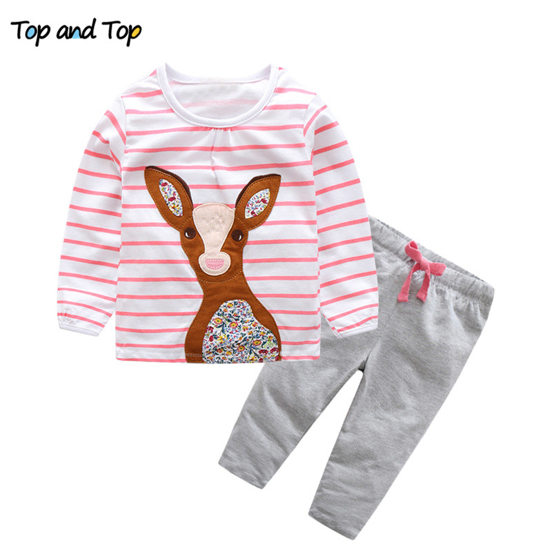 цена на Top and Top Baby Clothing Sets 2018 Autumn Striped Deer T-shirts+Pants 2PCS Baby Girls Outfits Set Newborn Girls Sports Clothes