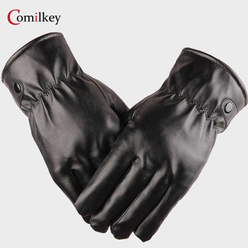 4eab02b498ac2 Winter Hot windproof gloves men women PU leather gloves super driving warm  cashmere tactical mittens winter