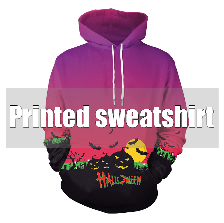 3D printed hooded sweat pumpkin haunted house shirt Halloween party scare spoof pub cosplay costume for adult