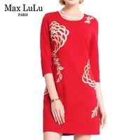 최대 룰루 브랜드 의류 2017 중국 스타일의 패션 꽃 인쇄 레드 드레스 여성 섹시 슬림 맞춤