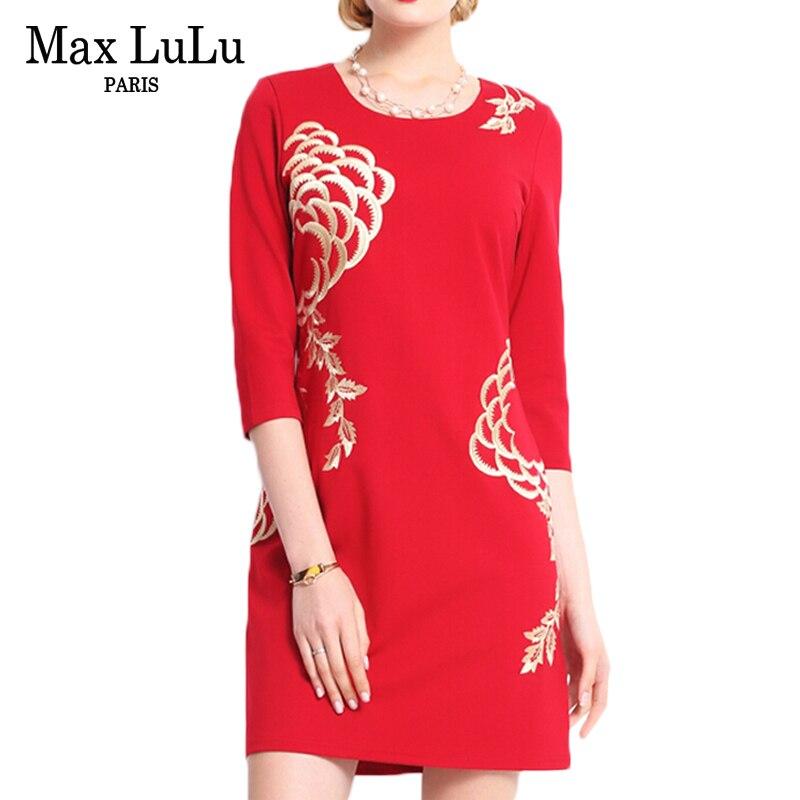 MAX Lulu брендовая одежда 2017 Китай Стиль модные Цветочный принт красное платье женские пикантные Slim Fit Осень Bodycon женщин Платья для женщин Бесплатная