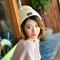 Fashion ladies knitted hat Trend of the new stickers hat Women solid color cute wild wool cap