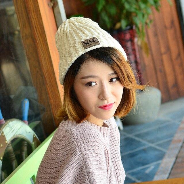 Moda para mujer de punto sombrero Tendencia de las nuevas pegatinas sombrero de Las Mujeres de color sólido lindo gorro de lana salvaje
