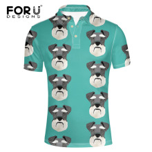 FORUDESIGNS Schnauzer Printing  Shirt Men Short Sleeve Males Fashion Summer Tops for Teen Standing Collar Cloth