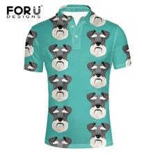 FORUDESIGNS Schnauzer Printing  Shirt Men Short Sleeve Males Fashion Summer Tops for Teen Standing Collar Cloth