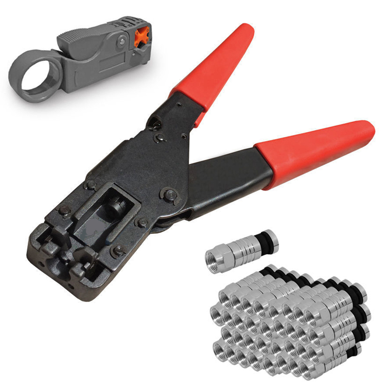 Crimping Tool Coaxial Cable Compression Tool Crimper For Coaxial Connector Cable Alicate Terminador 50Pcs Compression Connectors 2pcs set coaxial crimper stripper compression tool for rg59 rg6 rg11 connector cable
