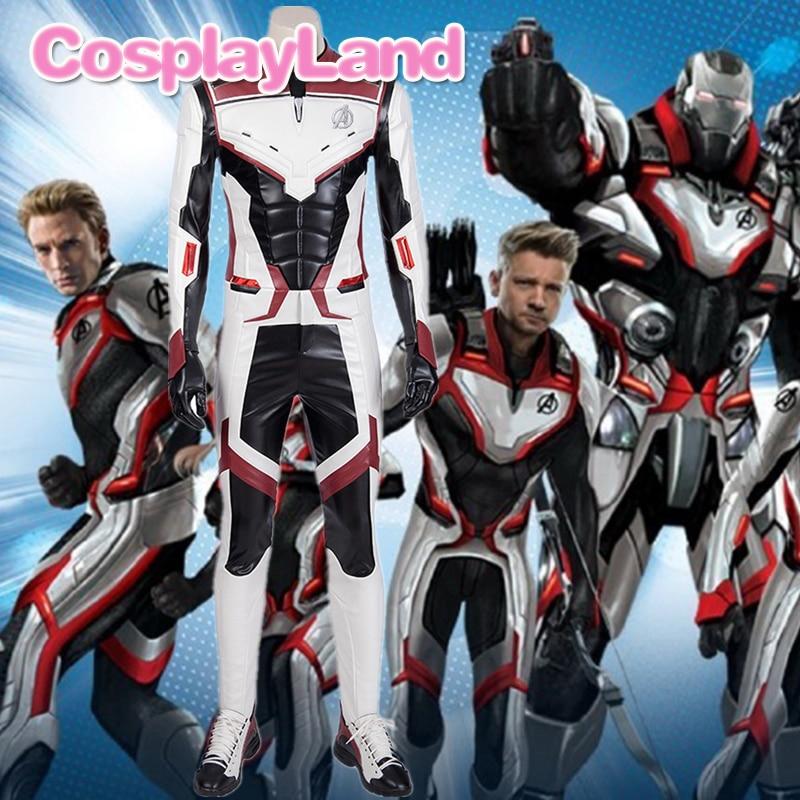 Us 57 95 Avengers4 Endgame Cosplay Superhero Costume Halloween Jumpsuit Avengers Team Uniform Iron Man Black Widow White Suit Custom Made In Movie