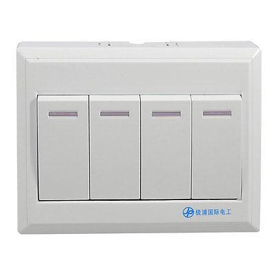все цены на Four Gang Button Light Switch Wall Plate Panel Rocker switch AC 110-250V 10-16A онлайн