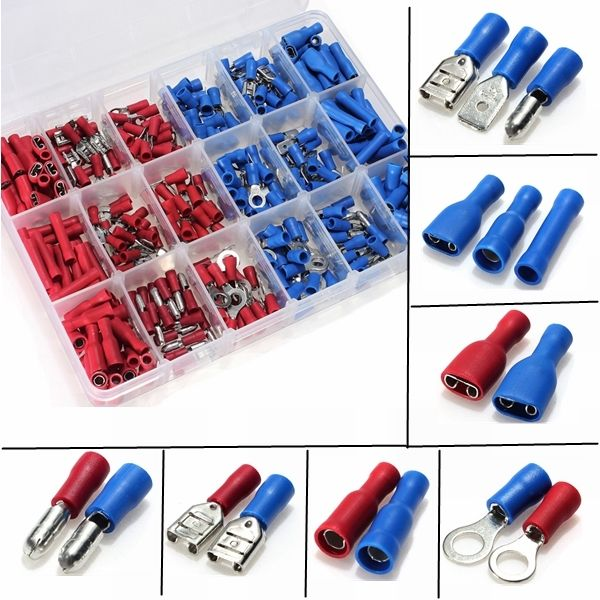 380Pcs Assorted Insulated Crimp Terminals Electrical Wire Connection Spade Set