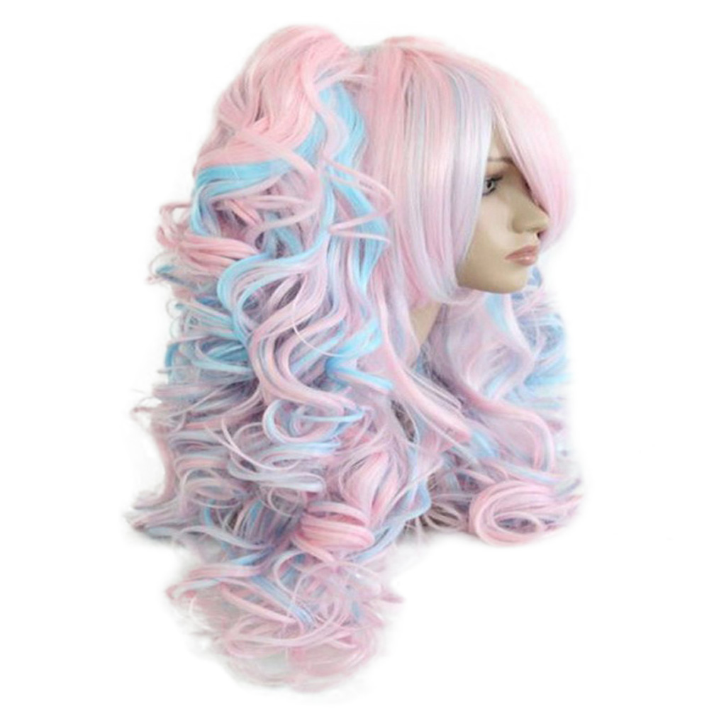 HAIRJOY Women 70cm Long Blue Mixed Pink Wavy Braided 2 Ponytails Synthetic Party Cosplay Wig 15 Colors Available 2