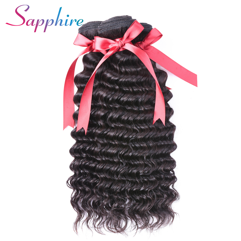 Sapphire Peruvian Deep Wave 4 Bundle 100% Non Remy Human Hair Extension Weave Natural Color Free Shipping