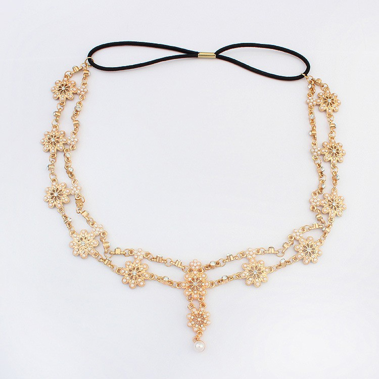 2018 Pearl Tassel Flower Stretch Headband Hair Band Wedding Accessories Crystal Bridal Hair Accessories Head Chain Hair Jewelry 6