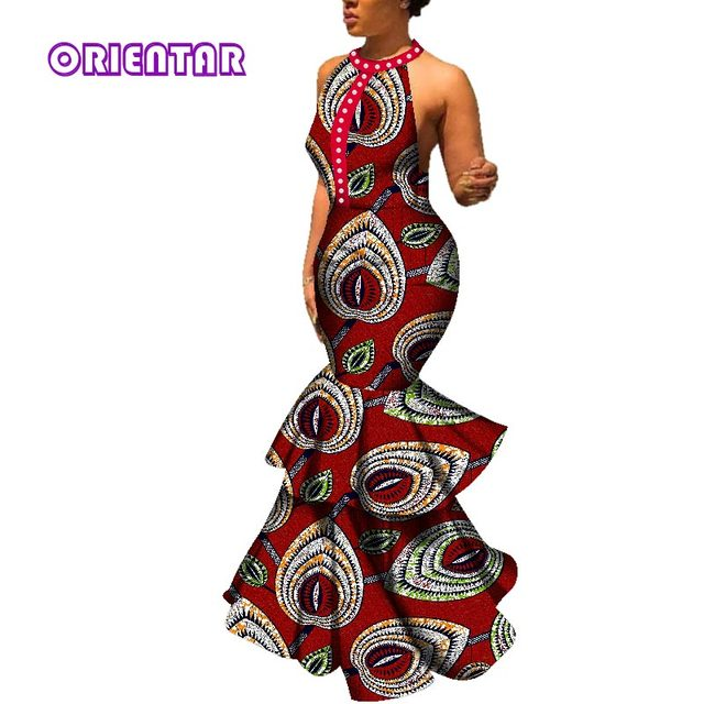 Women Fashion Long Dress Sexy Sleeveless Backless O-neck Wedding Party Dress Traditional African Print Bazin Riche Dresses WY198