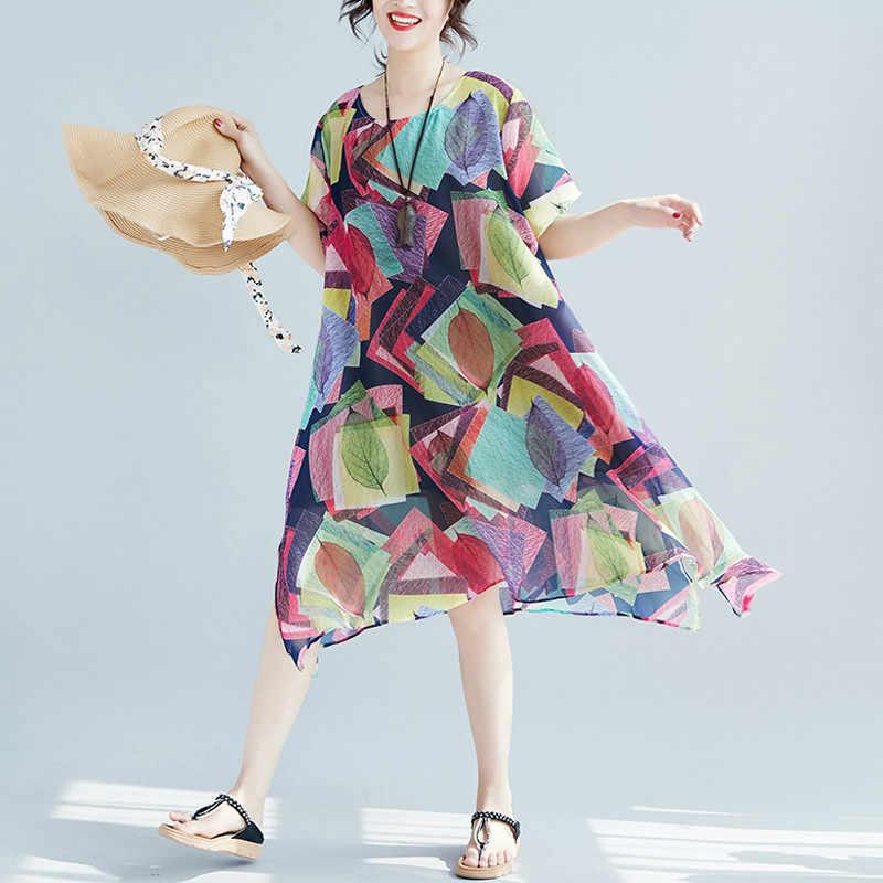 Женское платье Лето Плюс изделия из шифона в большом размере Гавайский праздник леди Vestidos принт панелями Женский Повседневный пляжный сарафан 2019 LP197