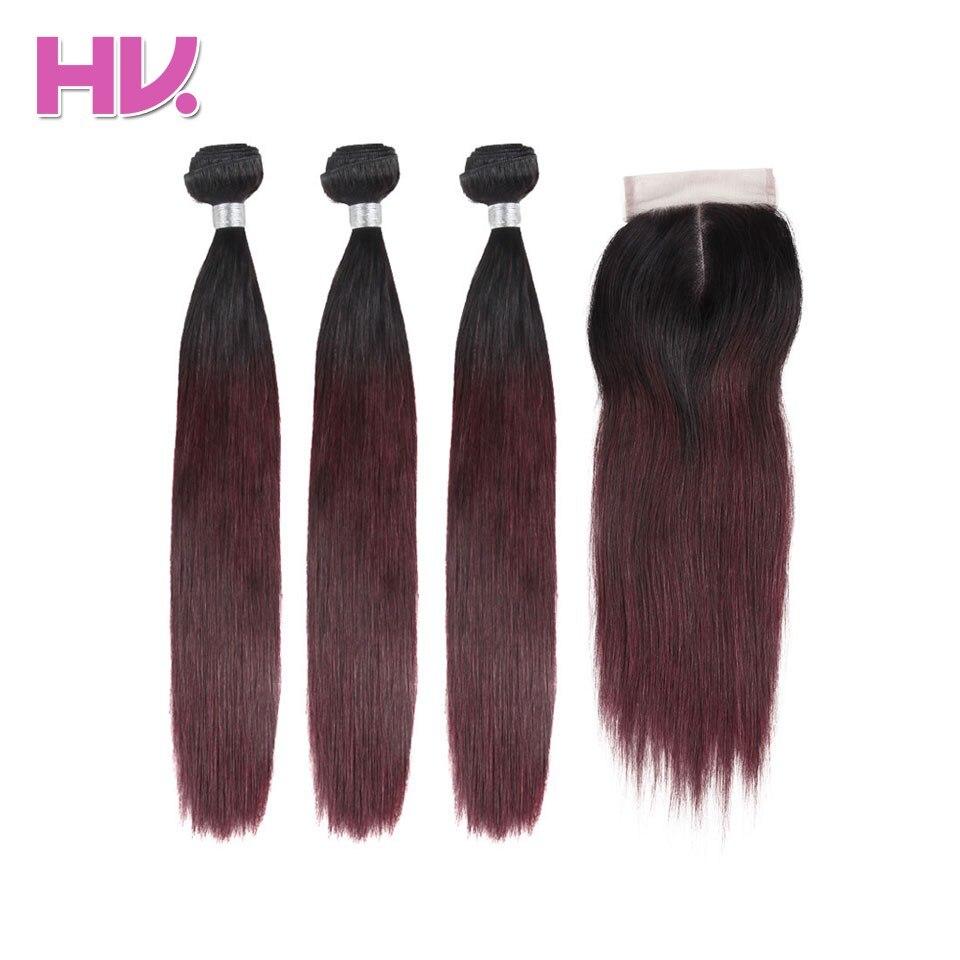 Hair Villa Pre-Colored Non Remy Brazilian Straight Hair Bundles Human Hair Weave With Closure 4*4 # T1B/BURGUNDY Hair Extensions