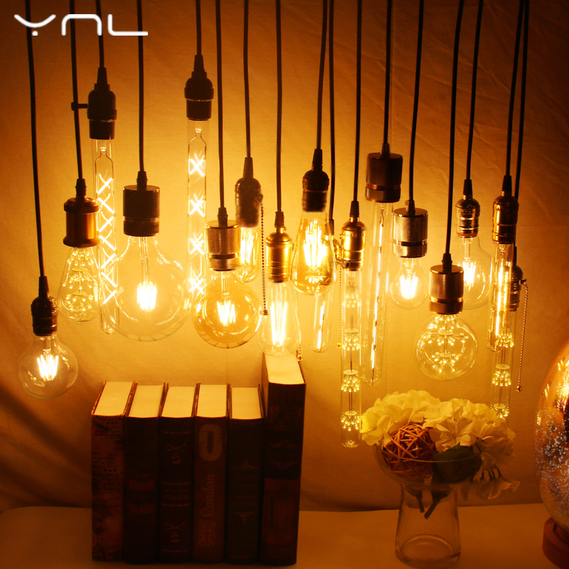 YNL Lampada Vintage LED Edison Bulb E27 E14 220V 2W 4W 6W 8W Bombillas ST64 G80 LED Lamp Antique Retro Glass Filament Light Bulb стоимость