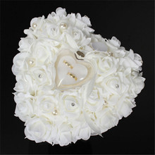 1Pcs Heart-shape Rose Flowers Valentine's Day Gift Ring Box Wedding Jewelry Ring Bearer Pillow Cushion Holder Cushion Holder