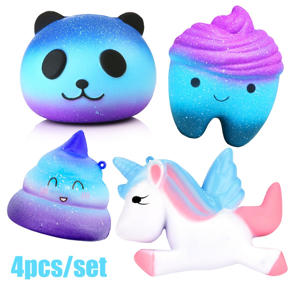 4pcs Anti-stress Soft Squish Toys Cute Squishy Set Jumbo Horse Panda Slow Rising Cube Anti-Stress Squish Shit Toy For Kids Adult