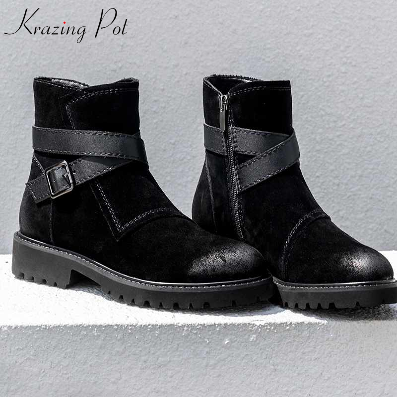 Krazing Pot vintage cow suede metal decoration basic fashion career boots superstar round toe Winter gentlewomen ankle boots L63 krazing pot winter kid suede cow leather patch work high heel basic boots winter zipper round toe office lady ankle boots l12